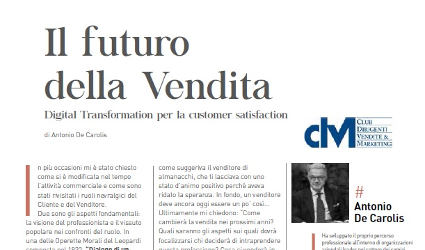 Il futuro della Vendita – Digital Transformation per la customer satisfaction, di Antonio De Carolis
