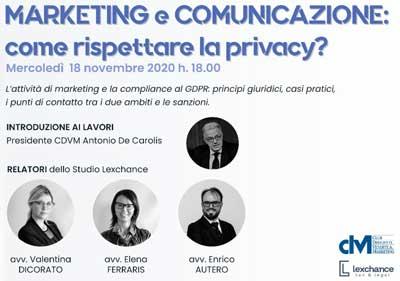 Marketing e comunicazione: comunicare nel rispetto della privacy – Webinar CDVM – 18 novembre 2020